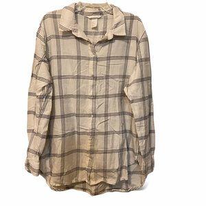 H&M Size 12 100% Cotton Long Sleeve Button Up Shir